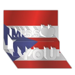 Flag Of Puerto Rico Miss You 3D Greeting Card (7x5)
