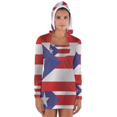 Flag Of Puerto Rico Women s Long Sleeve Hooded T-shirt