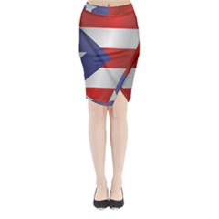 Flag Of Puerto Rico Midi Wrap Pencil Skirt