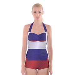Flag Of Russia Boyleg Halter Swimsuit