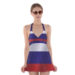 Flag Of Russia Halter Swimsuit Dress