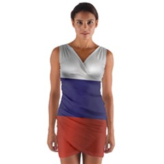 Flag Of Russia Wrap Front Bodycon Dress