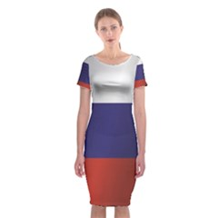 Flag Of Russia Classic Short Sleeve Midi Dress