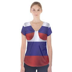 Flag Of Russia Short Sleeve Front Detail Top