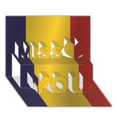 Flag Of Romania Miss You 3D Greeting Card (7x5)