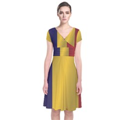 Flag Of Romania Short Sleeve Front Wrap Dress