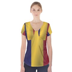 Flag Of Romania Short Sleeve Front Detail Top
