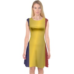 Flag Of Romania Capsleeve Midi Dress