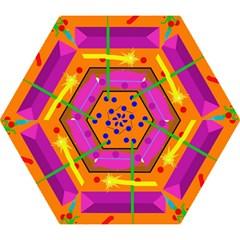 Orange abstraction Mini Folding Umbrellas
