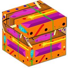 Orange abstraction Storage Stool 12