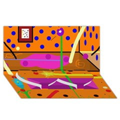 Orange abstraction Twin Heart Bottom 3D Greeting Card (8x4)