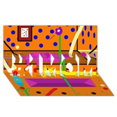 Orange abstraction #1 MOM 3D Greeting Cards (8x4)