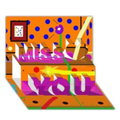 Orange Abstraction Miss You 3d Greeting Card (7x5)