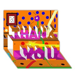 Orange abstraction THANK YOU 3D Greeting Card (7x5)
