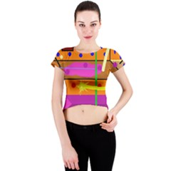 Orange abstraction Crew Neck Crop Top