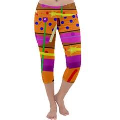 Orange abstraction Capri Yoga Leggings