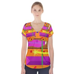 Orange abstraction Short Sleeve Front Detail Top