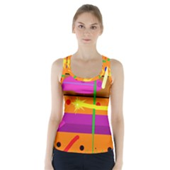 Orange abstraction Racer Back Sports Top