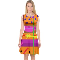 Orange abstraction Capsleeve Midi Dress