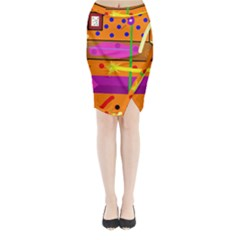 Orange Abstraction Midi Wrap Pencil Skirt