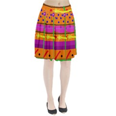 Orange abstraction Pleated Skirt