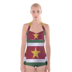 Flag Of Suriname Boyleg Halter Swimsuit