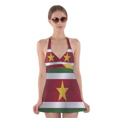 Flag Of Suriname Halter Swimsuit Dress