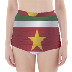 Flag Of Suriname High-Waisted Bikini Bottoms