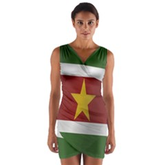Flag Of Suriname Wrap Front Bodycon Dress