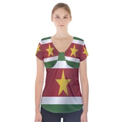 Flag Of Suriname Short Sleeve Front Detail Top