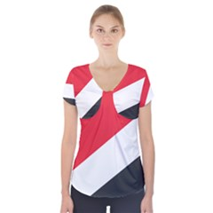 Flag Of Principality Of Sealand Short Sleeve Front Detail Top