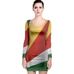 Flag Of Seychelles Long Sleeve Bodycon Dress