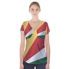 Flag Of Seychelles Short Sleeve Front Detail Top