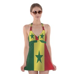 Flag Of Senegal Halter Swimsuit Dress