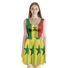 Flag Of Senegal Split Back Mini Dress