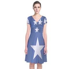 Flag Of Somalia Short Sleeve Front Wrap Dress