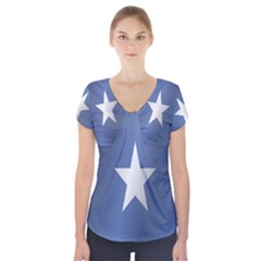 Flag Of Somalia Short Sleeve Front Detail Top