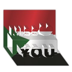 Flag Of Sudan Miss You 3D Greeting Card (7x5)