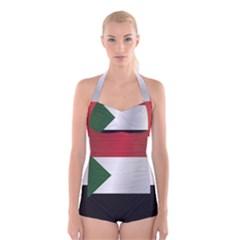 Flag Of Sudan Boyleg Halter Swimsuit