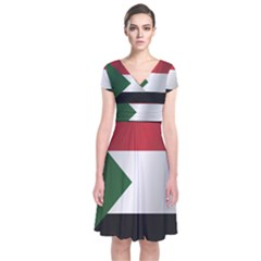 Flag Of Sudan Short Sleeve Front Wrap Dress