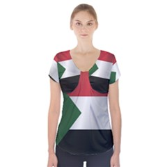 Flag Of Sudan Short Sleeve Front Detail Top