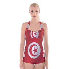 Flag Of Tunisia Boyleg Halter Swimsuit