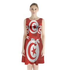 Flag Of Tunisia Sleeveless Waist Tie Dress