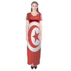 Flag Of Tunisia Short Sleeve Maxi Dress