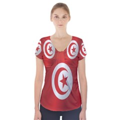 Flag Of Tunisia Short Sleeve Front Detail Top