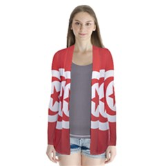 Flag Of Tunisia Drape Collar Cardigan