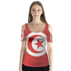 Flag Of Tunisia Butterfly Sleeve Cutout Tee