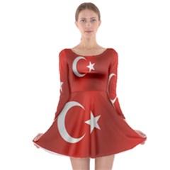 Flag Of Turkey Long Sleeve Skater Dress