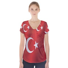 Flag Of Turkey Short Sleeve Front Detail Top