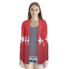 Flag Of Turkey Drape Collar Cardigan